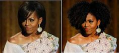 Michelle Obama  She looks more beautiful with curly hair.  That's just my opinion