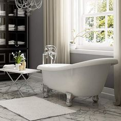 Luxury 60 inch Modern Clawfoot Tub in White with Stand-Alone Freestanding Tub Design, Includes Modern Polished Chrome Cannonball Feet and Drain, From The Brookdale Collection Clawfoot Tub Bathroom, Master Bathroom, Traditional Bathtubs, Best Home Security Camera, Deep Tub, Stand Alone Tub, Best Bathtubs, Modern Bathtub, High Back Chairs