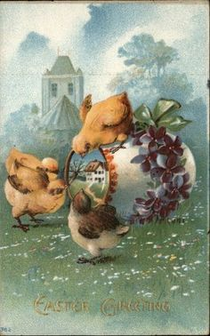 Easter Chicks Home in Egg Flowers Embossed Greeting c1910 Postcard   eBay