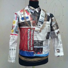 Risultati immagini per waistcoat made from paper Recycled Costumes, Recycled Dress, Recycling For Kids, Paper Clothes, Newspaper Dress, Paper Fashion, Recycled Fashion, Suit Fashion, Cool Costumes
