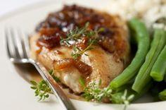 Pechuga de pollo a la plancha con especias y judías verdes de guarnición