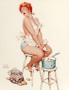 "PINUP stampa-parete arte stampa riproduzione-Vintage Sexy Plus-taglia-Pin-up Girl Duane Bryers-Hilda Peeling Cipolle-No. 227 stampa 8,5 x 11 """