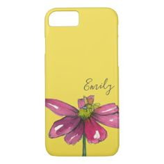 Honey Bee Yellow Daisy Custom Name iPhone 8/7 Case - purple floral style gifts flower flowers diy customize unique