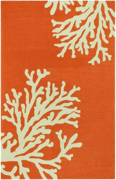 Sea coral pattern in orange and ivory