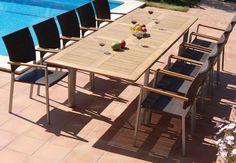 PALMA: Mesa para exterior extensible de Bambó Blau, rectangular. Estructura de aluminio y sobre de madera de teca. Para terraza y jardín.