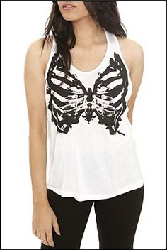 Hottopic, also sold out! One of the must haves, it's a teenage runaway butterfly skeleton white tank.
