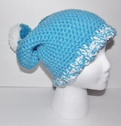 Hand Knitted Slouchy Hat Blue and White Made With Soft Thick Yarn and Toped With A Pom Pom