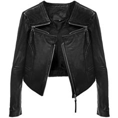 Triple Zip Crop Leather Jacket ($365) ❤ liked on Polyvore featuring outerwear, jackets, zip jacket, zipper leather jacket, cropped leather jackets, leather jackets and cropped jacket