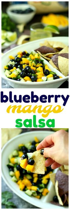 {AD} This Blueberry Mango Salsa is the perfect cool, refreshing summer app! Use it as a dip or a topping for grilled meats and/or salads.