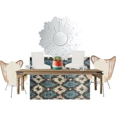 Bohemian dinning room. by heidiegalarza on Polyvore featuring polyvore, interior, interiors, interior design, home, home decor, interior decorating and Restoration Hardware