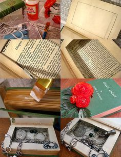 Jewelry box made out of a book - wasn't sure if I wanted to pin it to crafts or gifting.  Someone will definitely get one of these from a favorite book.