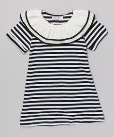 Look what I found on #zulily! Black & White Stripe Ruffle Collar Dress - Toddler & Girls #zulilyfinds