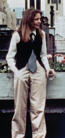 Diane Keaton as Annie Hall, where she insisted on wearing men's clothes much to Woody Allen's consternation-best movie ever!