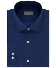 Michael Kors Men's Regular Fit Airsoft Stretch Non-Iron Performance Solid Dress Shirt - Blue 16 32/33