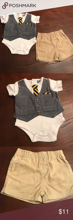 New two piece baby boy set Super cute baby boy two piece set. New with tags. I love this outfit, my son did not get a chance to wear this one, but he has another one similar and it looks really cute on. I love the fake handkerchief and necktie with the button down best. Nice for any occasion. Please do not list offers in the comment section. Thank you Other
