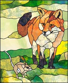 Stained Glass Patterns ::: Fox And Mouse