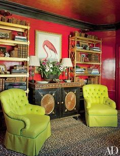 If you are afraid to mix green and red, because it might look like Christmas, this awesome room should dispel any fears.