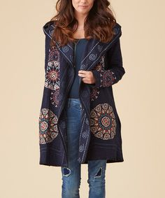 Navy Embroidered Hooded Cardigan