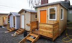 Sawhorse Revolution: Seattle teens build mobile tiny homes for local homeless community Homeless Housing, Homeless Shelters, Tiny House Wood Stove, Tiny House Bathroom, Micro House, Shipping Container Homes, Transitional Decor, Tiny Living, Green Building