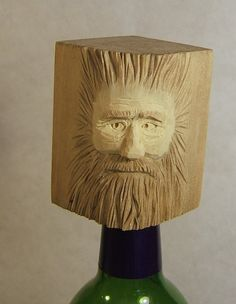 Hand Carved Wood Spirit Wine Bottle Stopper by ClaudesWoodcarving, $25.00