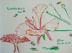 Dessin en 15 minutes d'un flamboyant. Aux feutres. http://www.pigmentropie.fr
