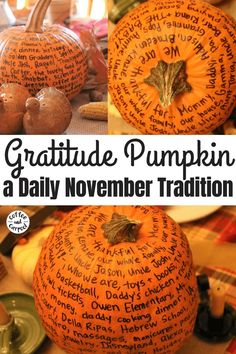 Encouraging gratitude is fun and festive with this Thanksgiving tradition of a gratitude pumpkin. Fill it out every November evening. It's a great family tradition to focus on gratitude. thanksgiving Teach Kids to Be Thankful Thanksgiving Diy, Thanksgiving Traditions, Holiday Traditions, Thanksgiving Appetizers, Thanksgiving Activities For Kids, Holiday Decorations Thanksgiving, Family Traditions, November Thanksgiving, Thanksgiving Decorations