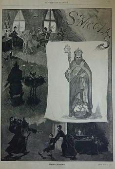 Saint Nicolas Gravure uit de Katholieke Illustratie 1887 St Nicholas Day, Saints, Christmas, Painting, Seeds, Xmas, Painting Art, Navidad, Paintings
