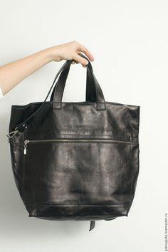 international shipping shopper Купить Сумка черная трансформер из натуральной кожи - черный, сумка, сумка ручной работы