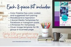 This 8 piece template kit contains everything you need to create a cohesive and beautiful brand for your small business!  #branding  #Purple #teal #canva Branding Kit, Business Branding, Facebook Cover Template, Hex Color Codes, Business Pages, Brand Board, Brand Guidelines, For Facebook, Purple Teal