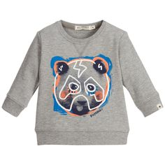 Billybandit - Baby Boys Grey Bear Print Sweatshirt | Childrensalon