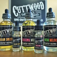 All of our favorite Cuttwood E-juice all together! Come in today and get a bottle of your favorite Cuttwood E-juice or just get the whole collection!