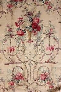 Details about Rococo block printed floral antique French fabric c1800 ...