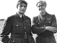 On the left Flight Lieutenant Richard ''Dicky'' Lee, DSO, DFC, lost over the North Sea pursuing a German bomber on the 18 August 1940. On the right Pilot Officer Albert Gerald Lewis DFC. Aged 22 and from South Africa. Lewis shot down at least 28 enemy aircraft and on one occasion 6 in 6 hours. Both of 85 Squadron at RAF Castle Camps, Cambridgeshire - Battle of Britain - July 1940