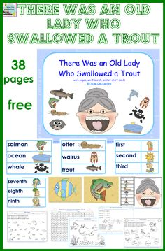Free printables for the book, There Was An Old Lady Who Swallowed a Trout