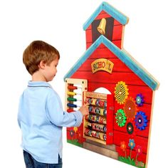 Colorful and an educational house of fun! The School House Wall Panel from Anatex attracts children of all ages. Perfect for your toy room, preschools, waiting rooms, reception area or any business centers frequented by children.