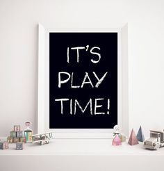 Black & White It's Playtime Poster Nursery by TheLittlePosterShop