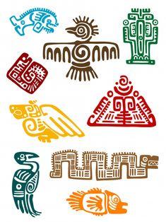 Ancient maya monsters set of religious design. Vector illustatin Illustration of Ancient maya monsters set of religious design. Vector illustatin vector art, clipart and stock vectors. Ancient Symbols, Ancient Art, Viking Symbols, Egyptian Symbols, Viking Runes, Native Art, Native American Art, Motifs Aztèques, Aztec Symbols