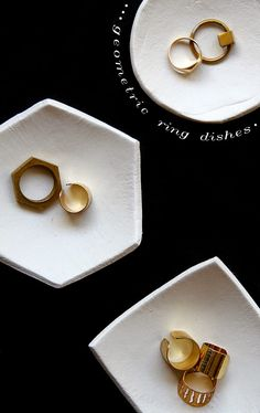 diy | clay ring dishes.  polymer clay, paper clay, salt dough clay.  could be enhanced with a Sharpie