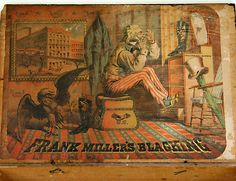 Frank Miller's Peerless Blacking Box, circa 1890 shoe blacking box depicts a resourceful Uncle Sam using his boot as a makeshift shaving mirror. In the lower lefthand corner of the lithograph, Sam's pet bald eagle fights its reflection in the other boot!    This rare circa 1890 shoe blacking box depicts a resourceful Uncle Sam using his boot as a makeshift shaving mirror. In the lower lefthand corner of the lithograph, Sam's pet bald eagle fights its reflection in the other boot!