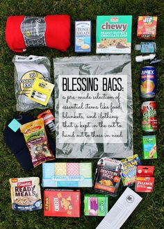 Give back more with thoughtfully filled Blessing Bag kits you can stock on a budget at local 99 Cents Only Stores. Fill tehm with essentials such as fleee blankets warm knit hats shelf stable food and bandages and keep them in the car for those in need. Homeless Bags, Homeless Care Package, Homeless People, 99 Cents Only Stores, Blessing Bags, Eat Better, November, Helping The Homeless, Kit