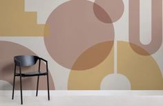 The new Bauhaus-inspired collection by Murals Wallpaper Geometric Wallpaper Beige, Colorfull Wallpaper, Modern Wallpaper, Photo Wallpaper, Normal Wallpaper, How To Hang Wallpaper, Interior Desing, Home Interior, Bauhaus Art