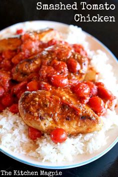 SMASHED TOMATO CHICKEN - One pot, easy, healthy and oh, made with some white wine of course!