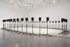 """Janet Cardiff – The Forty Part Motet (A reworking of """"Spem in Alium,"""" by Thomas Tallis audio installation with speakers and stands, Surrey Art Gallery, 2008 Installation Architecture, Sound Installation, Art Installations, Janet Cardiff, Sound Sculpture, Sound Art, Home Theater Speakers, Audio Room, Typography Layout"""