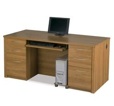 Embassy Collection Executive Desk with Pre-Assembled Pedestals