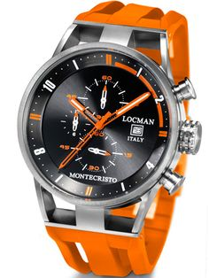 Locman Mens Monte Cristo Oversize Titanium Water Resistant Chrono Watch Orange 510BKOROR