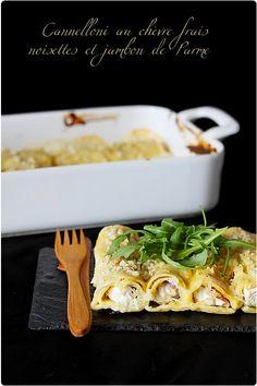 Cannelloni au chèvre frais, noisettes et jambon de parme... A tester !
