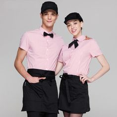 get off 10 get apron)Man/woman short sleeve coffee shop restaurant hotel waiter shirt uniform work wear work clothes Cafe Uniform, Waiter Uniform, Hotel Uniform, Kellner Uniform, Cool Restaurant Design, Restaurant Ideas, Chef Dress, Pink Cafe, Work Uniforms