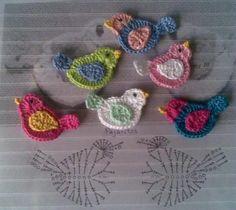 Mini Bird Applique Motif - Free Crochet Diagram - (solocrochet-manualista.blogspot)