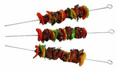 Char-Broil 2184152 Deluxe Chrome Skewers by Char-Broil. $10.98. 4 Per pack. Ideal for making vegetable, meat, and seafood kabobs. Hanging loop. Dishwasher safe. The Deluxe Chrome Skewers are ideal for meat, vegetables, and seafood kabobs. The skewers are pointed for easy loading, they are easy to clean and have a hanging hole for easy storage.. Save 22%!