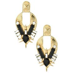 Hit a glam slam with these statement earrings! Burnished gold-tone metal plate earrings feature inlaid jet bald land clear crystal rhinestone accents